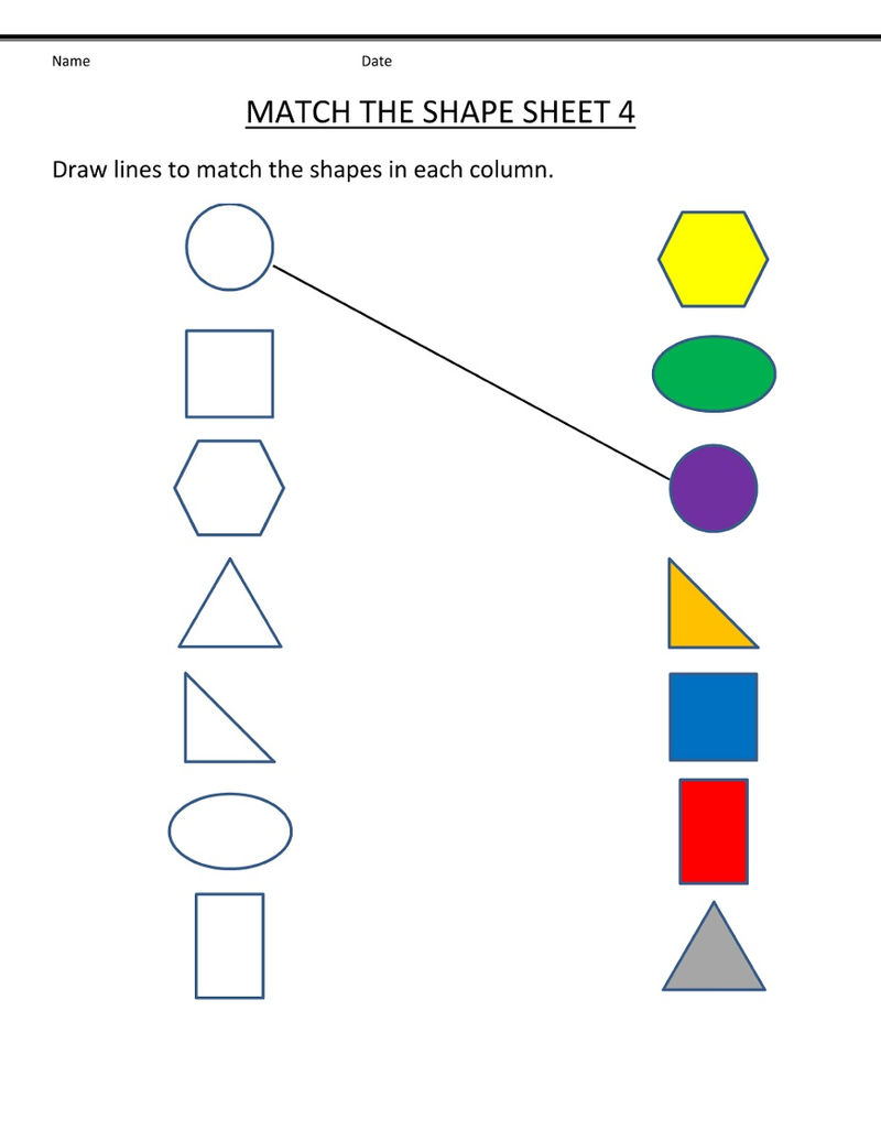 Free Shape Worksheets Toddlers