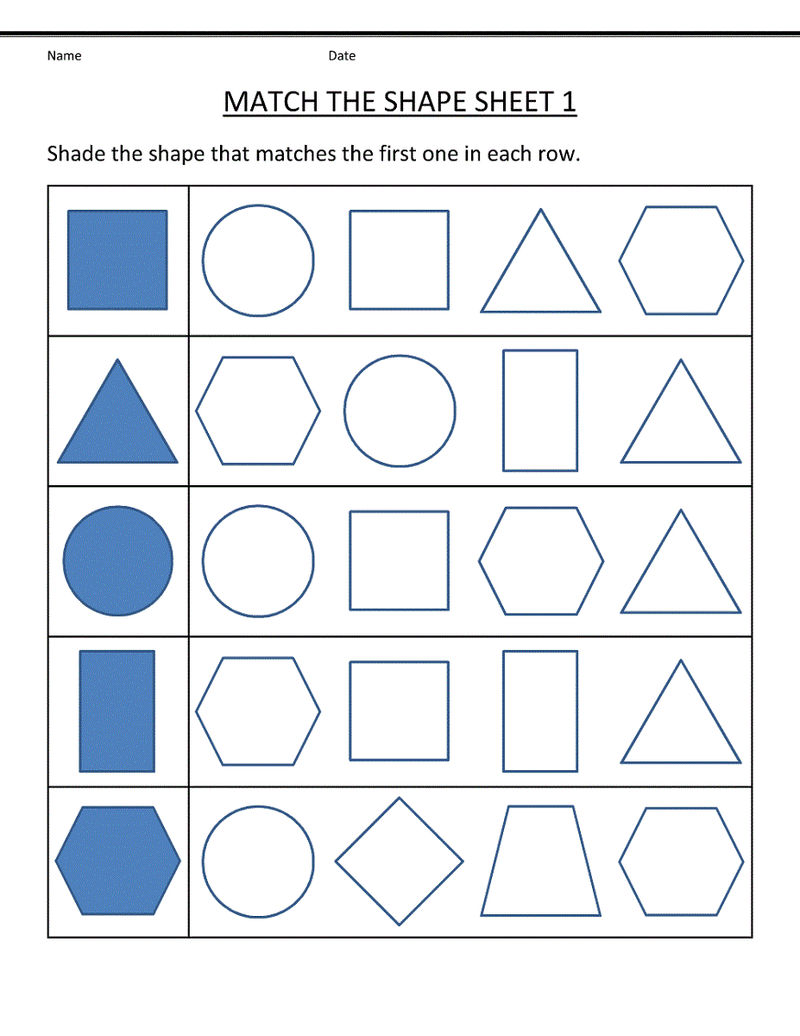 Free Shapes Worksheets For Matching