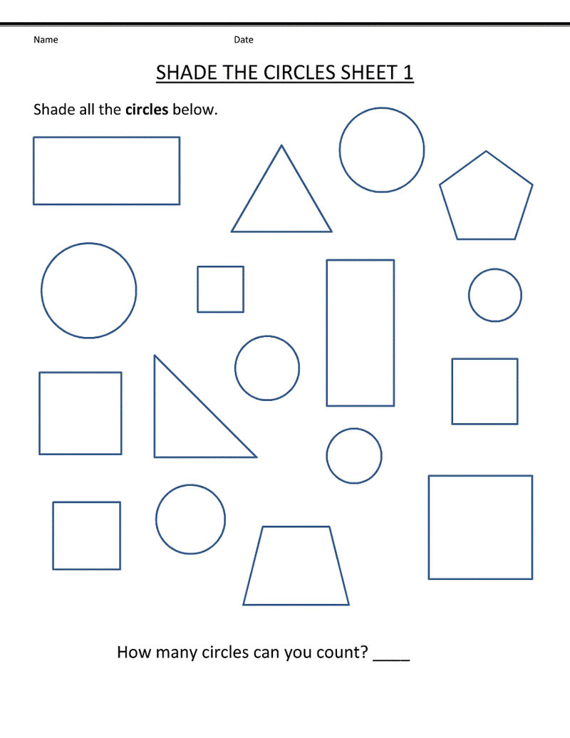 Free Shapes Worksheets Template