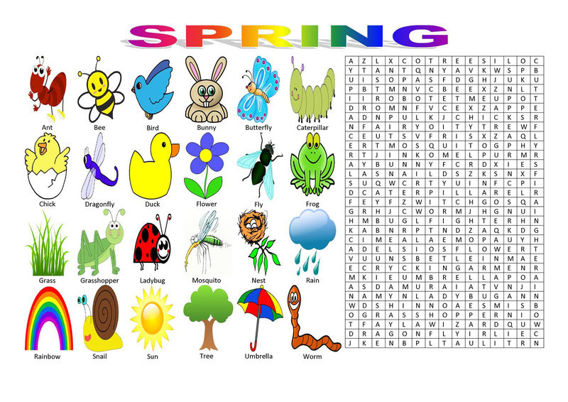 Free Spring Word Search Activity