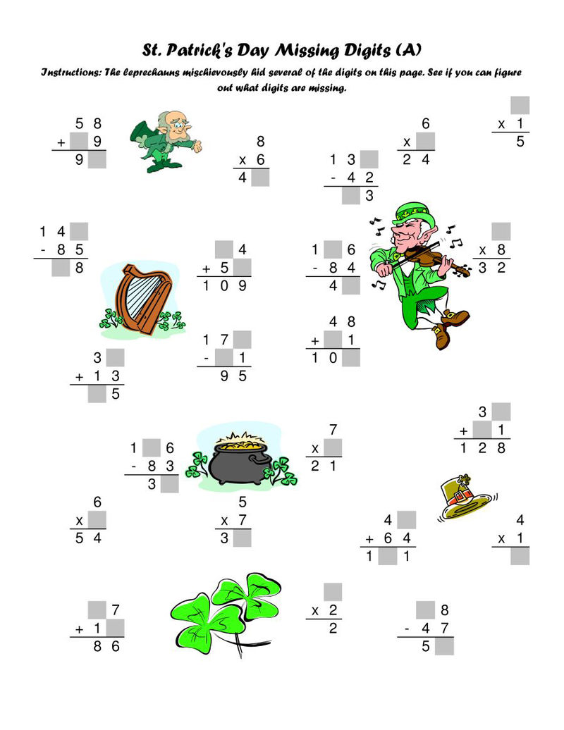 Free St Patricks Day Math Worksheet