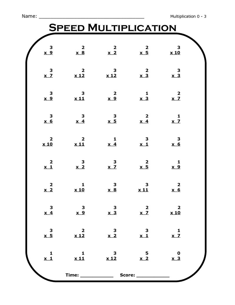 Free Times Tables Worksheets 3rd Grade