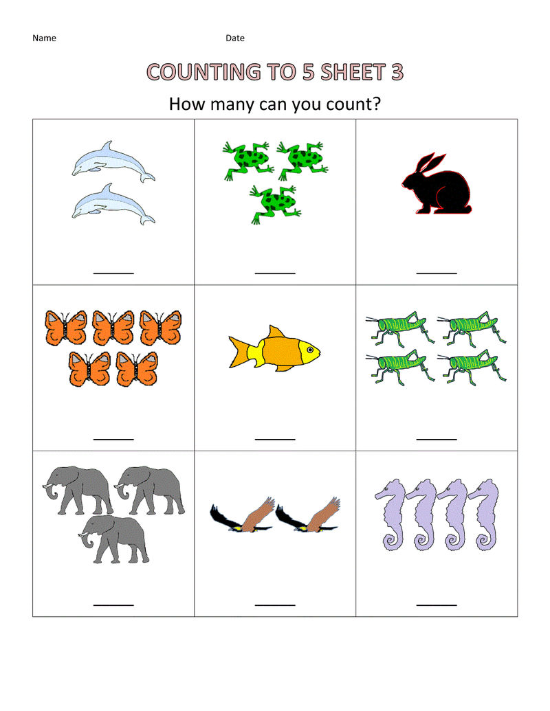 Free Toddler Worksheets Counting