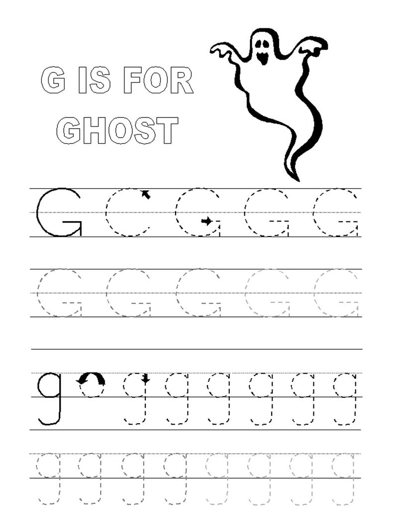 Free Traceable Alphabet Worksheets Letter G