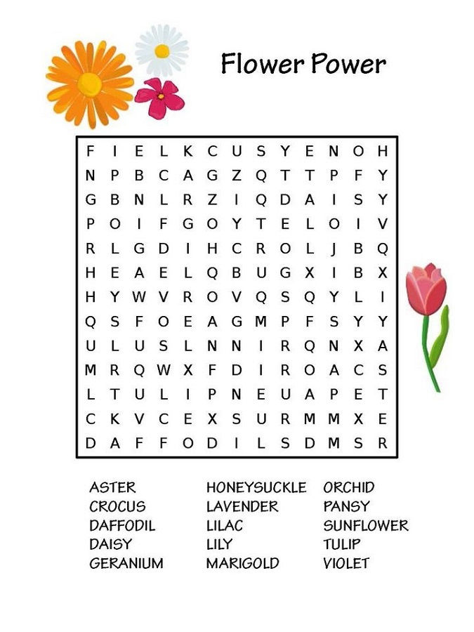 Free Word Search Puzzles For Kids Flower