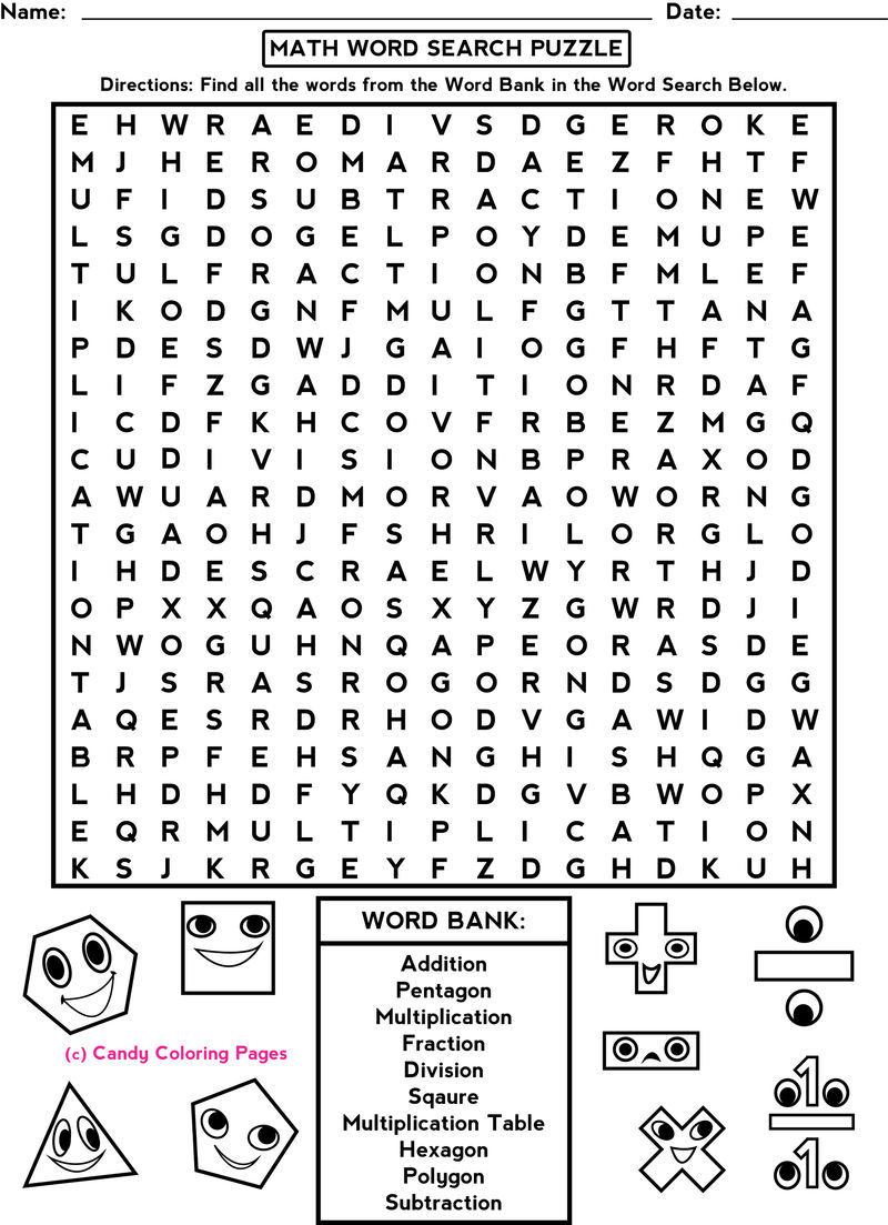 Free word search worksheets math