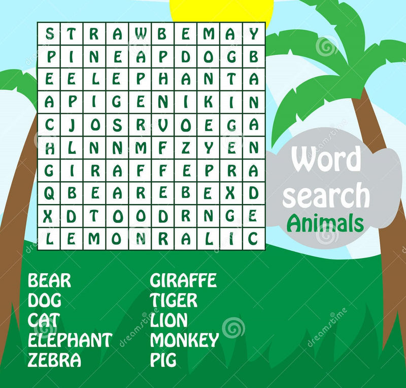 Free Word Searches For Kids Animals
