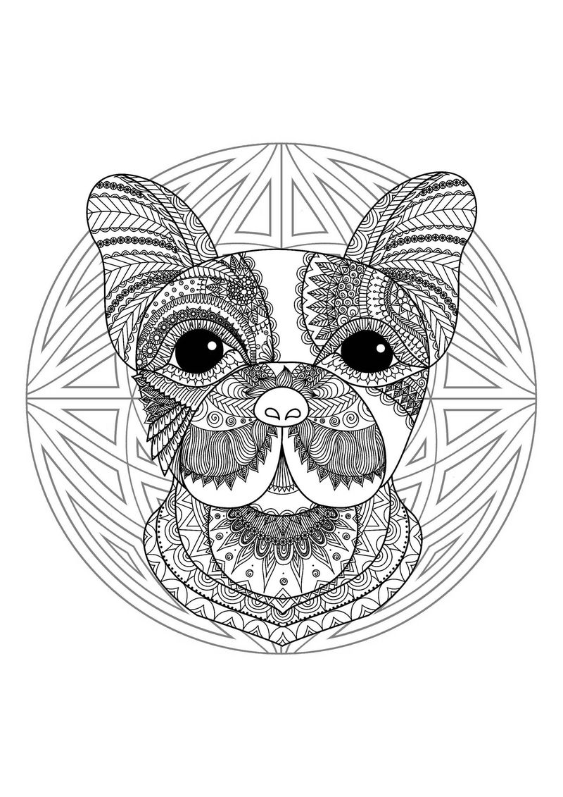 French Bulldog Animal Mandala Coloring Pages
