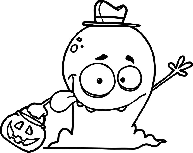 Friendly Alien Monster Trick Or Treating On Halloween Wearing A Hat As A Human Costume Coloring Page