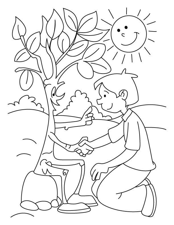 Friendly Bare Tree Coloring Page