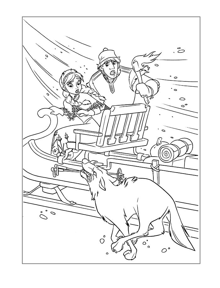 Frozen Coloring Page Anna Escaping