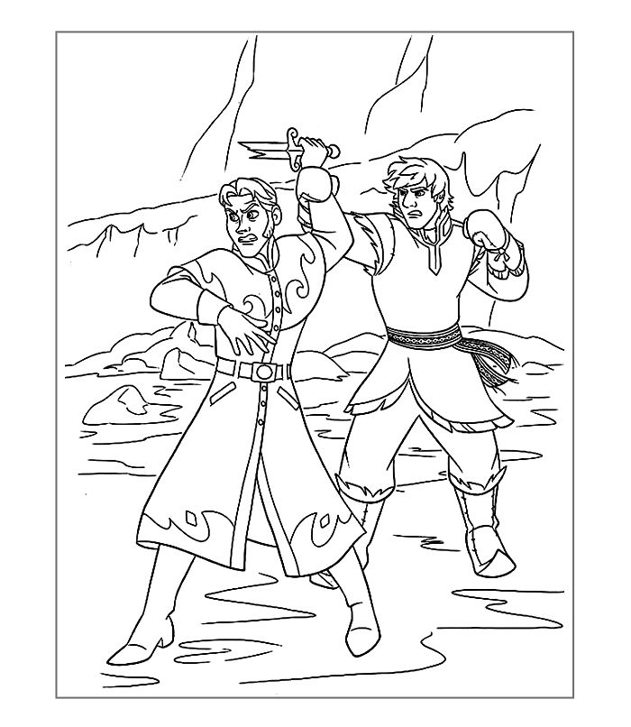 Frozen Coloring Page The Fight
