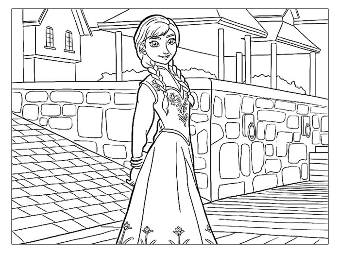 Frozen coloring pages anna in town