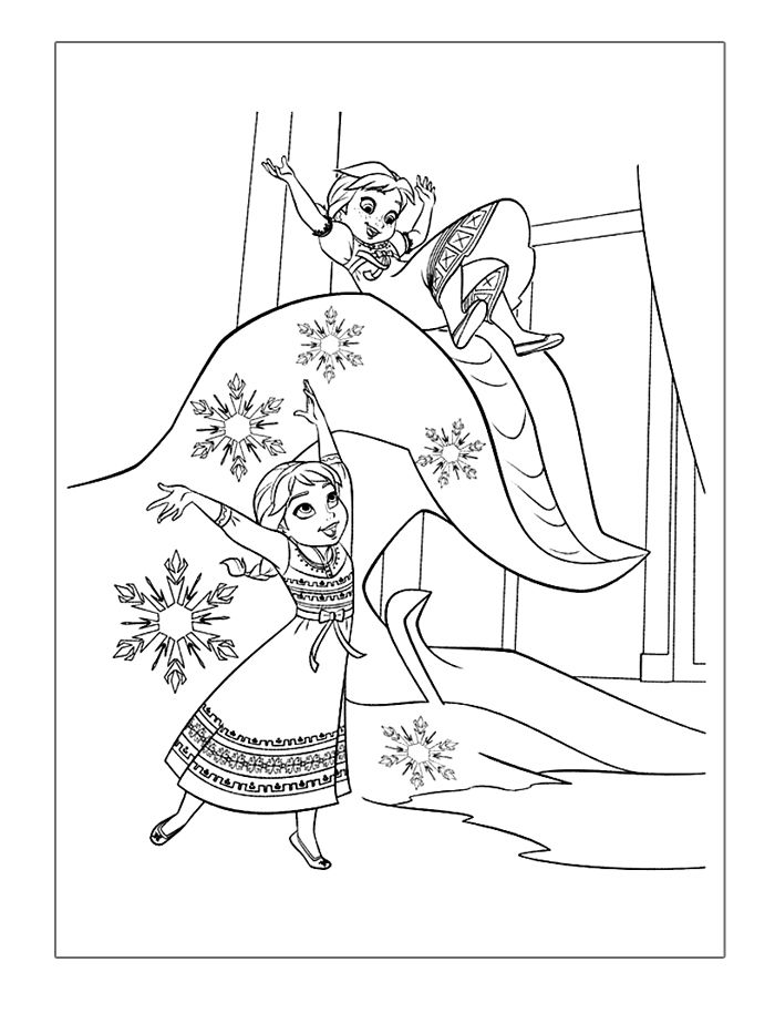 Frozen Coloring Pages Elsa And Anna Playing