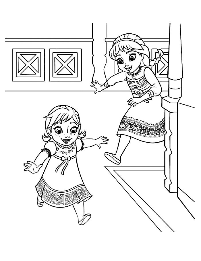 Frozen coloring young elsa and anna