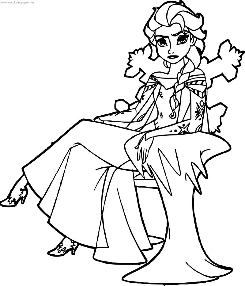 Frozen Elsa Throne Coloring Page