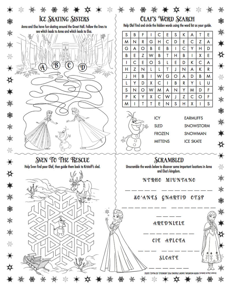 Frozen Worksheet Activity