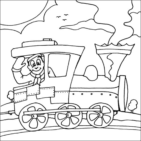 Fun Machinist Operating Steam Train Coloring Page