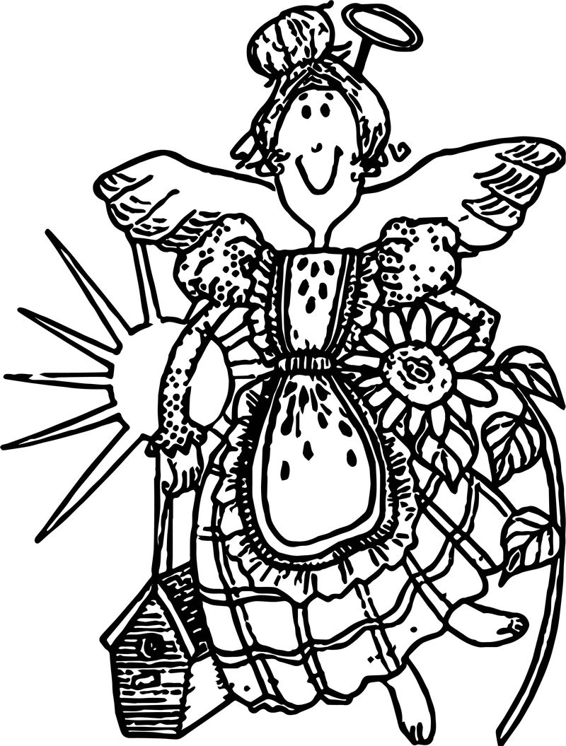 Garden Angel Coloring Page
