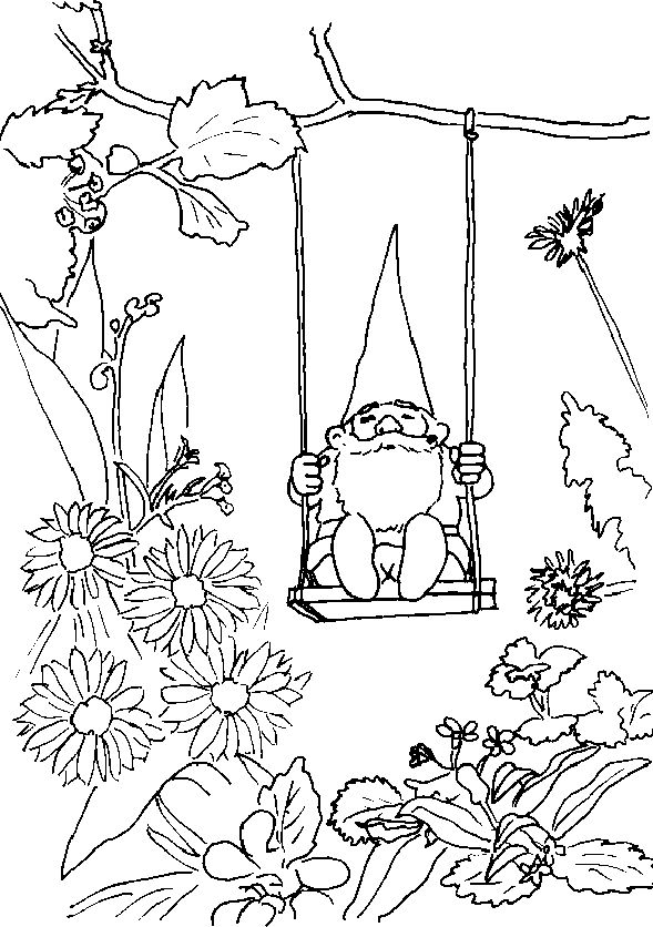 Garden Gnome Coloring Page 1