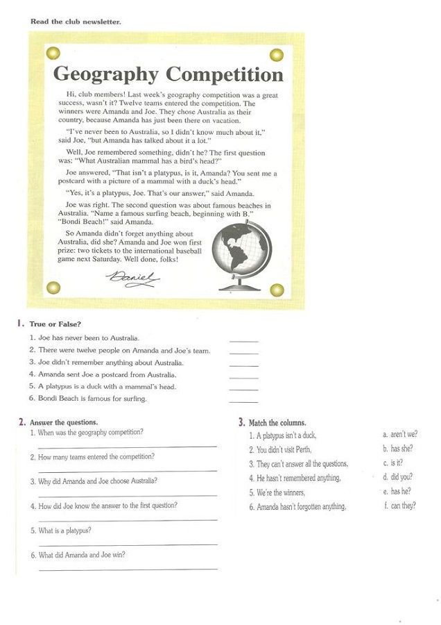 Geography Worksheets For Elementary