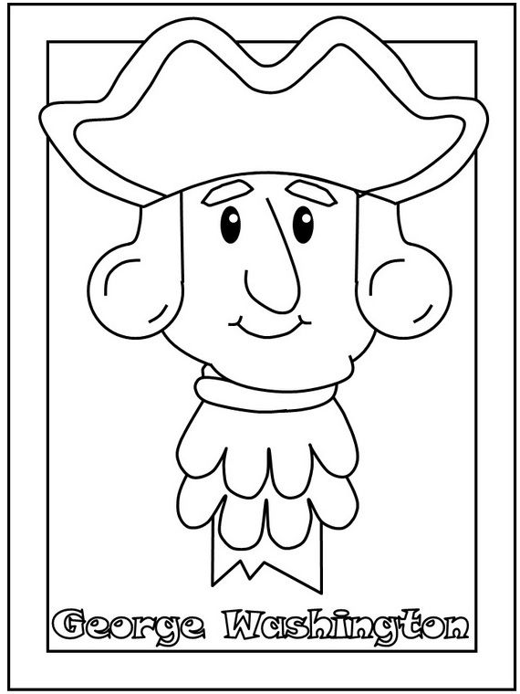George Washington Presidents Day Coloring Page