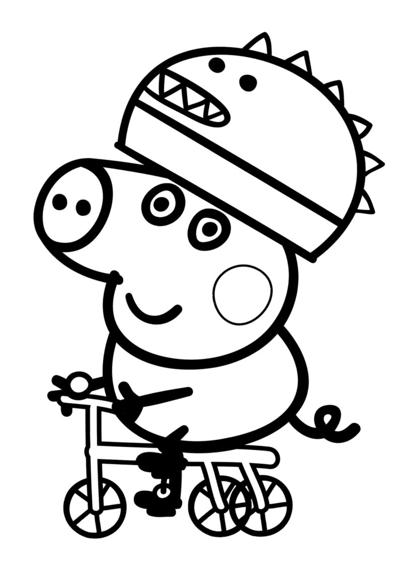 Georges Bike Ride. Peppa Pig Coloring Pages