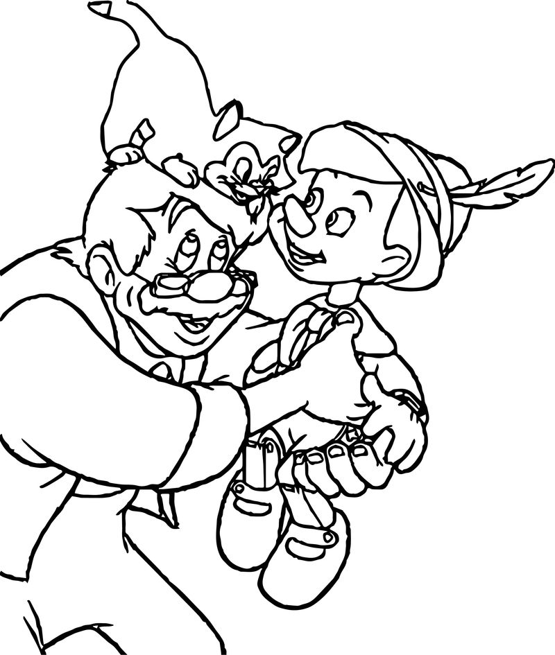 Gepetto Pinocchio Figaro Happy Coloring Page