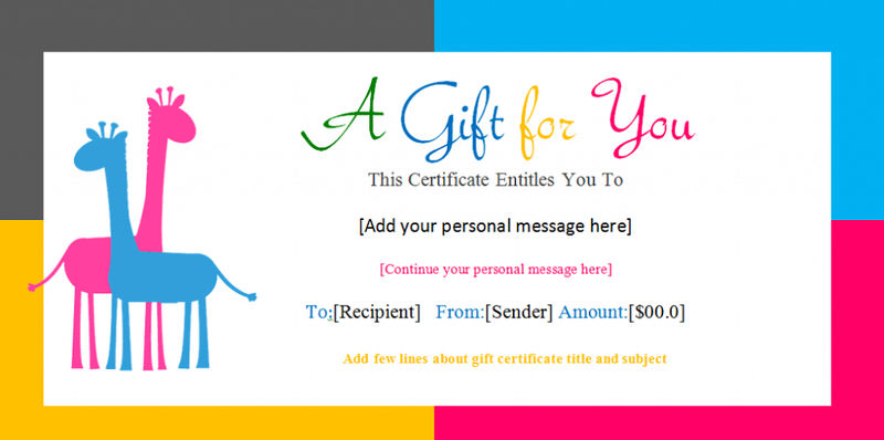 Gift Certificate Template For Kids Birthday 001