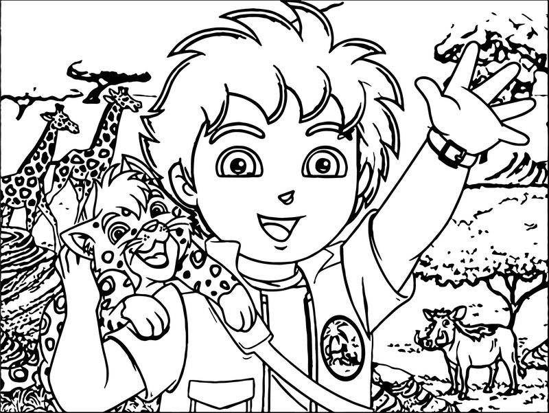 Go Diego Go And Animals Coloring Page