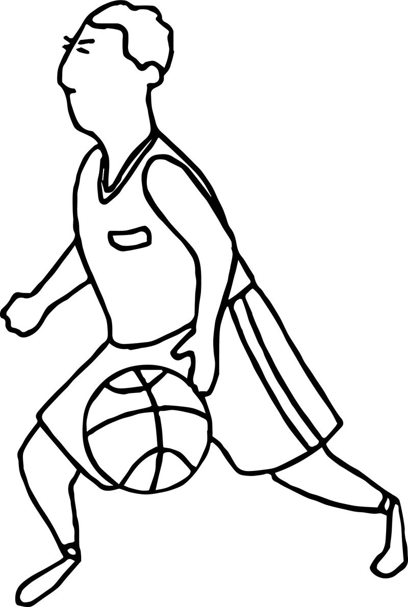 Go Man Playing Basketball Coloring Page
