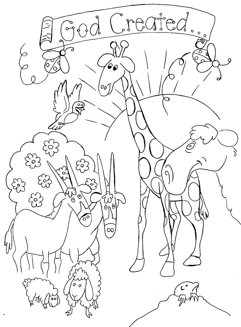 God Created Animals Coloring Page