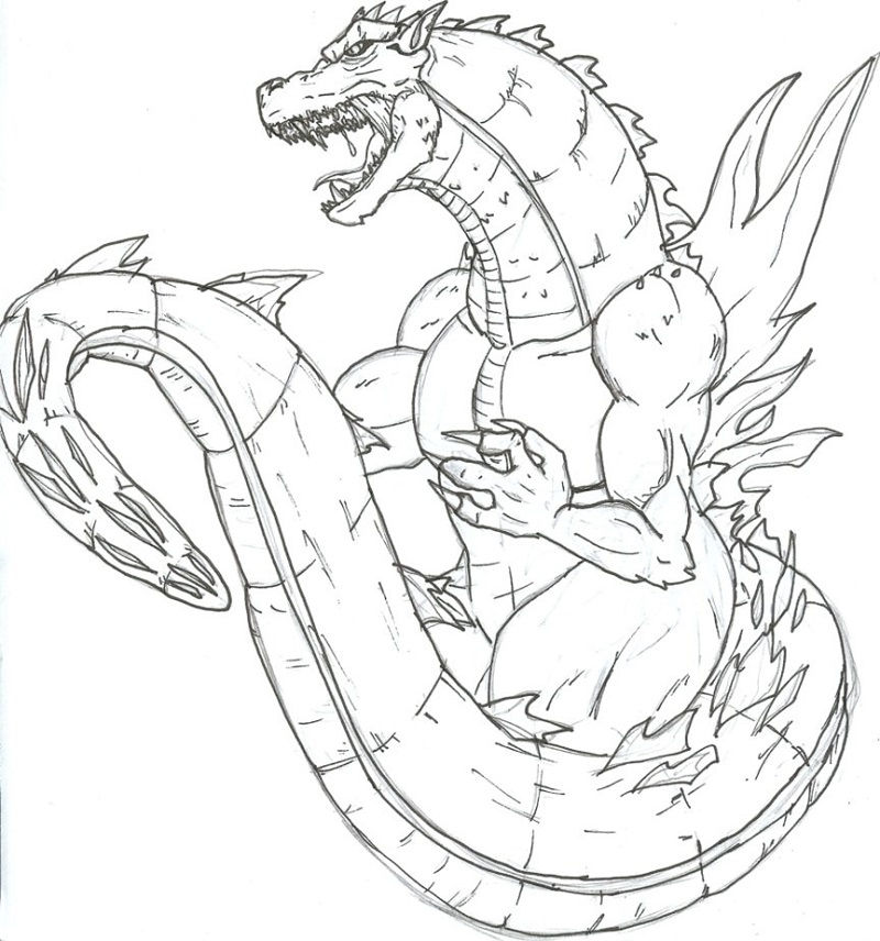 Godzilla Coloring Pages To Print Worksheet 001