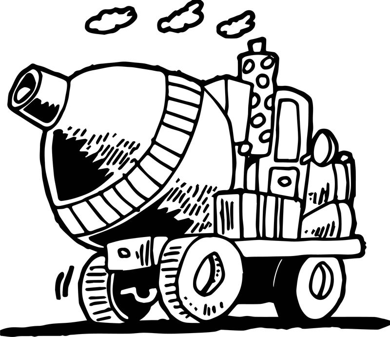 Going Cement Truck Coloring Page