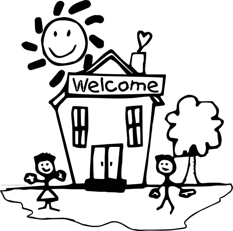 Good Day School Building Coloring Page
