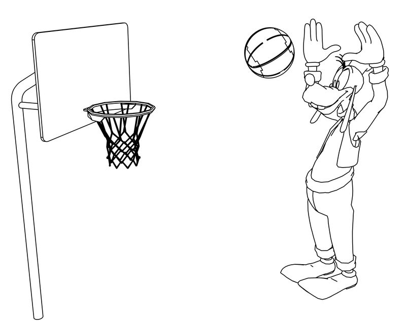 Goofy Playing Basketball Coloring Page 03