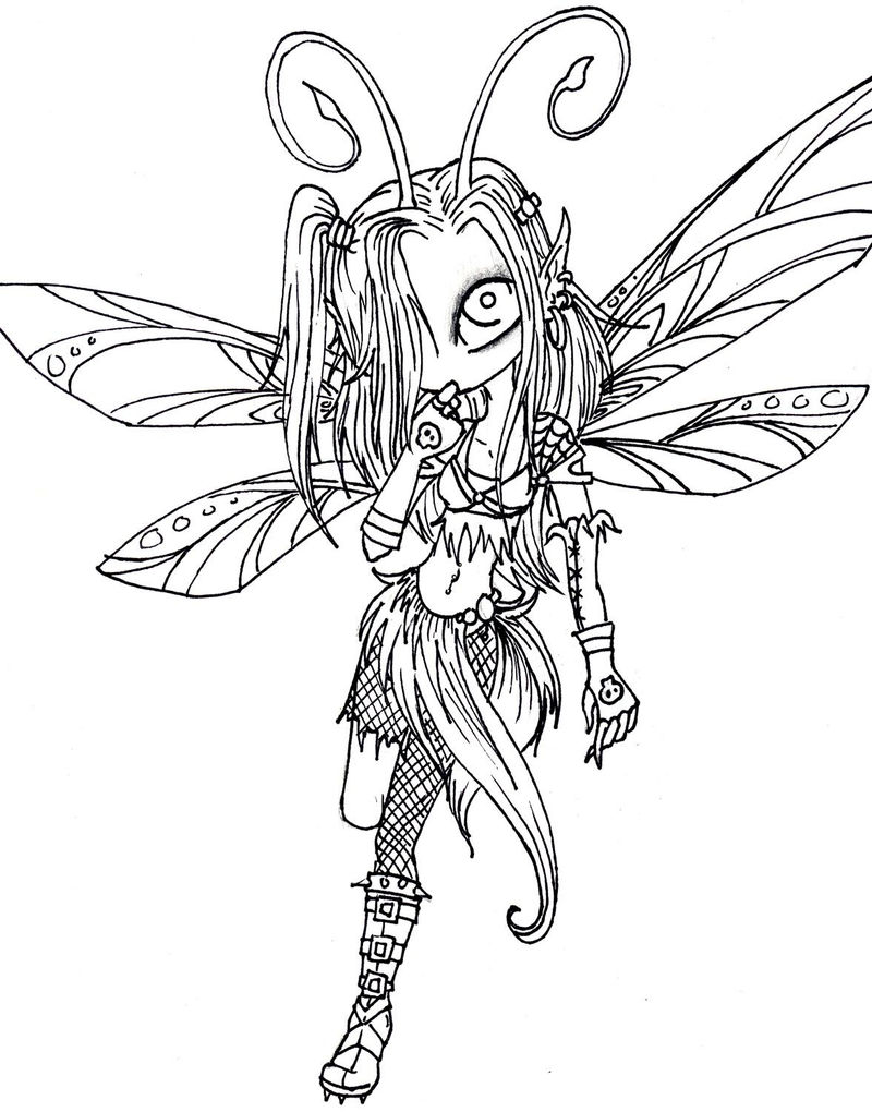 Goth fairy coloring pages