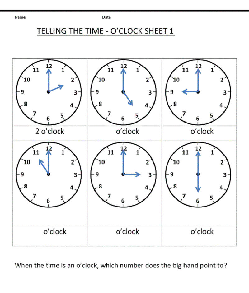 Grade 1 Worksheets Telling Time 001