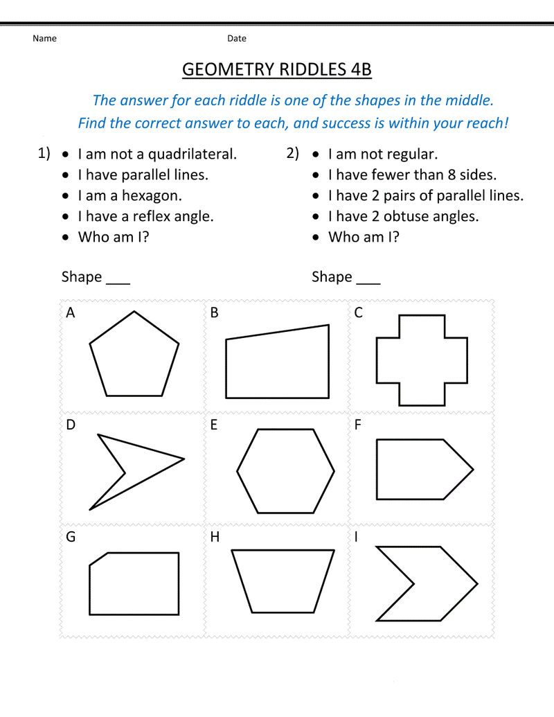 Grade 4 Math Worksheets Shape