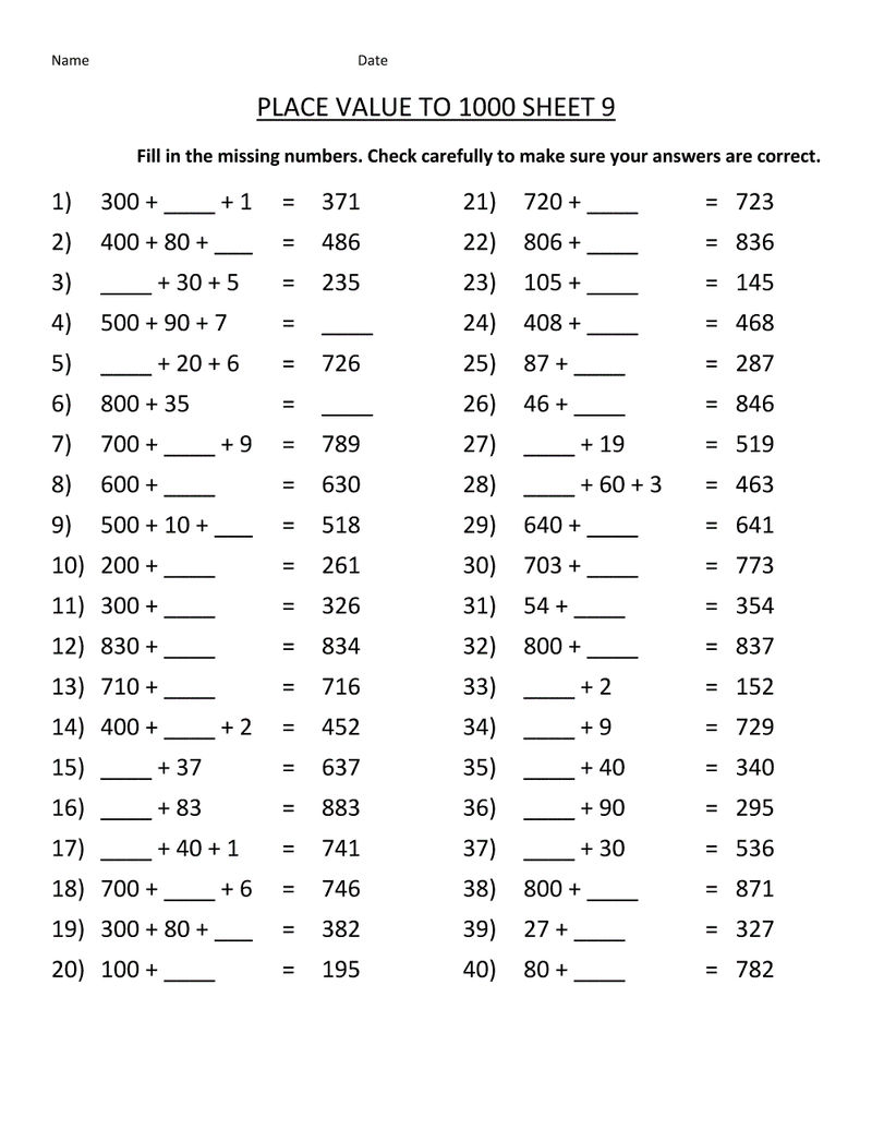 Grade 9 Math Worksheets Printable Free Value