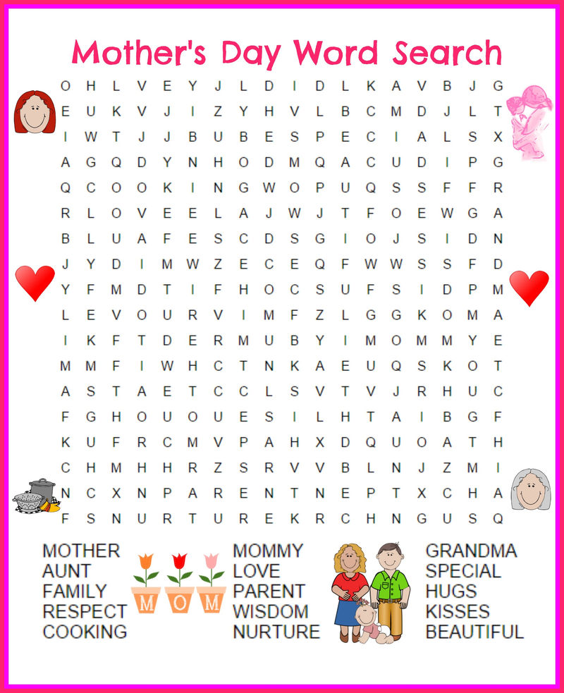 Great Day Word Search Mothers Day