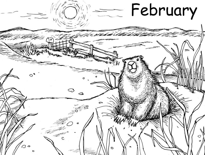 Groundhog Day February Coloring Pages