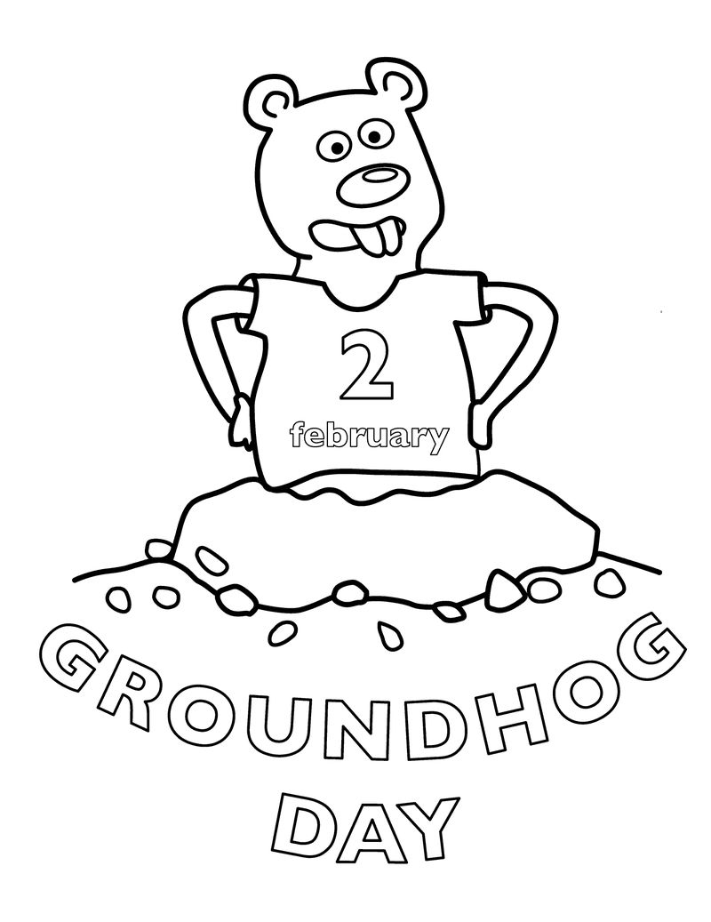 Groundhog Day February Coloring Pages 1