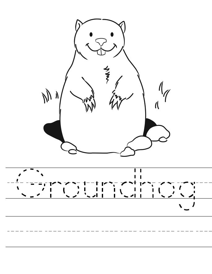 Groundhog Tracing Worksheet