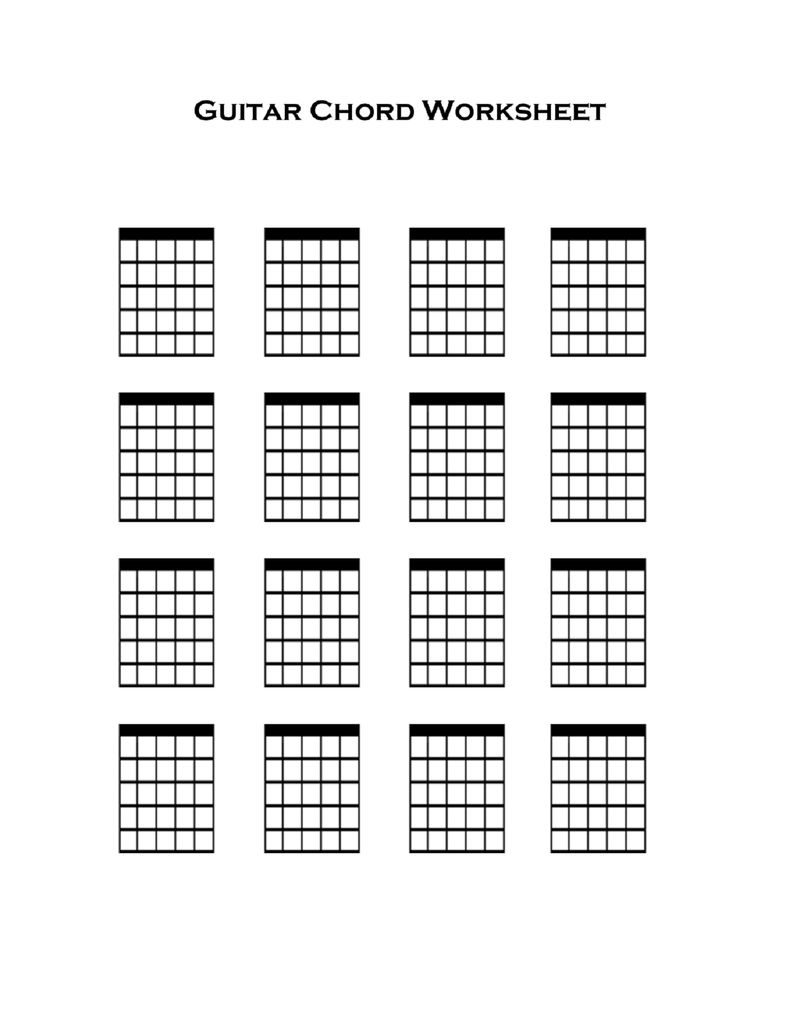 Guitar Chords Worksheet