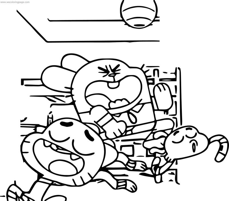 Gumball Darwin Father Happy Room Coloring Page