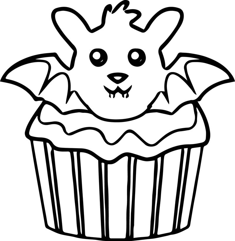 Halloween bat cupcake coloring page