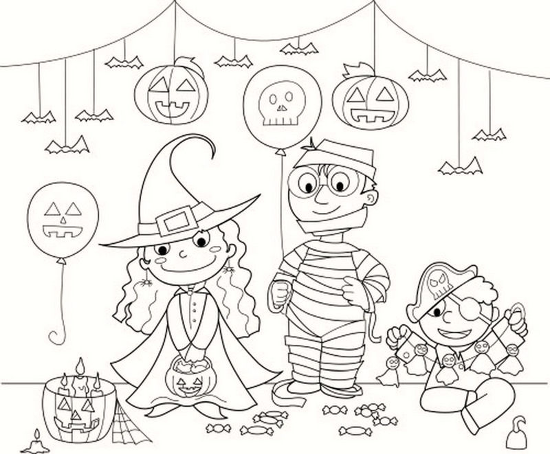 Halloween Coloring Costume Party And Decorations Coloring Pages