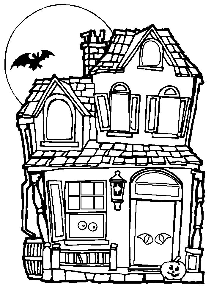 Halloween Coloring Page Haunted House 001
