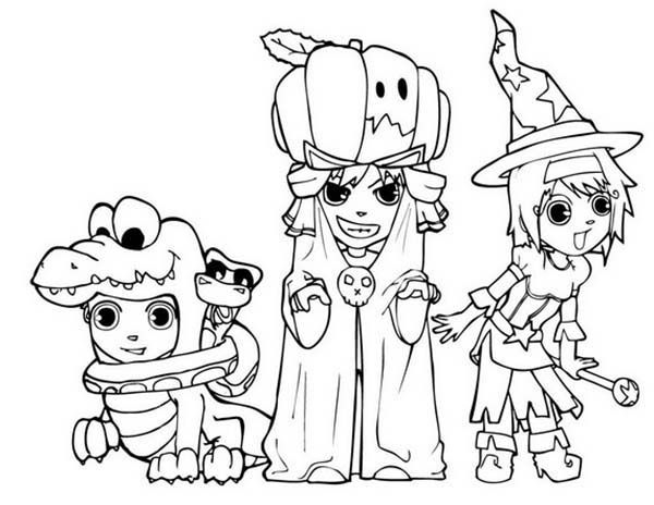 Halloween Costumes Coloring Page